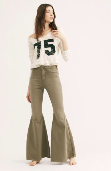 NEW Free People Just Float On Flare Jeans Army Green High Rise Extreme Super