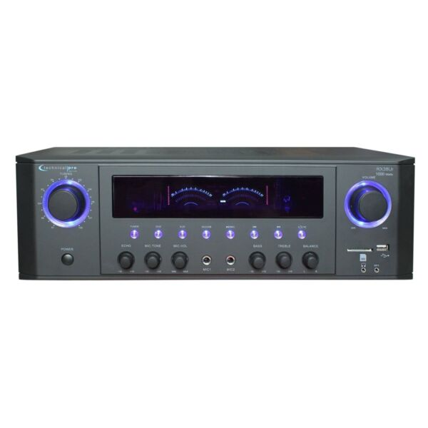 Technical Pro 1000 Watt Professional Receiver with USB amp; SD Card Inputs in Black