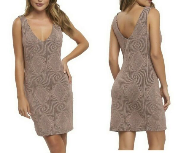 Tart Collections $229 Dusty Rose Gold Double V Neck  Rebecca Dress S Nwt