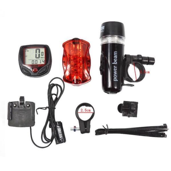 Bike Bicycle Accessories Set Warning Lamp Headlight Rear Tail Light Speedometer $16.63