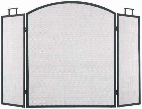 Black 3 Folding Panel Classic Fireplace Screen Arched Durable Steel Mesh Guard