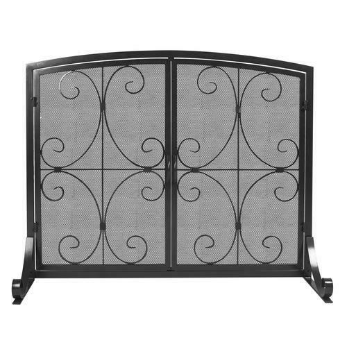 Single Panel Fireplace Screen Hinged Door Old World Ornamental Durable Steel