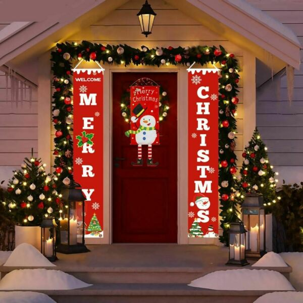Christmas Porch Sign Door Banners Home Hanging Xmas Ornaments Decorations 2019