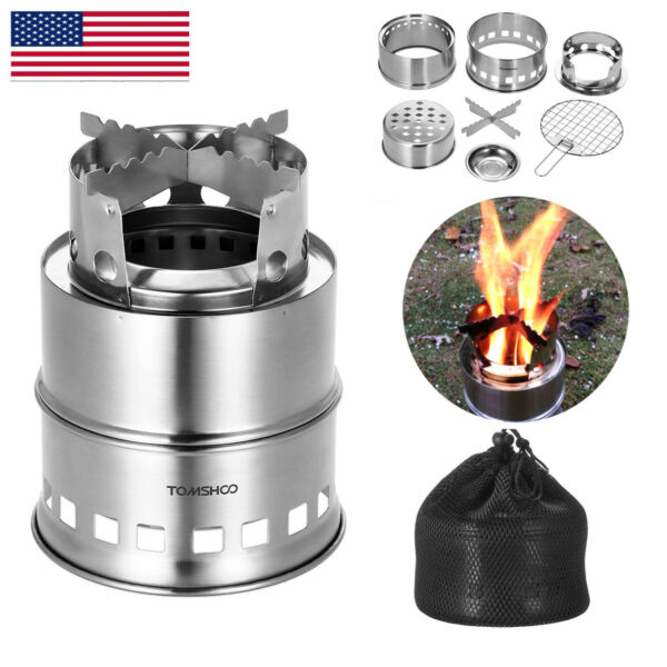 TOMSHOO Wood Burning Stove Stainless Steel Survival Camping Stove Backpacking US