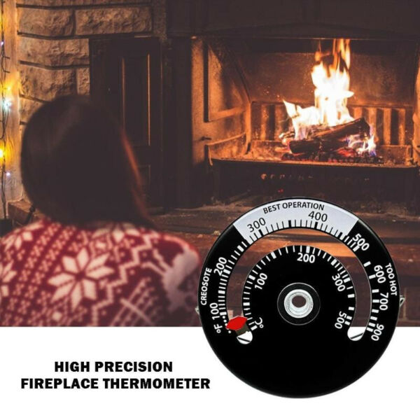 Magnetic Black Wood Stove Pipe Fireplace Heat Temperature Gauge Thermometer $7.41