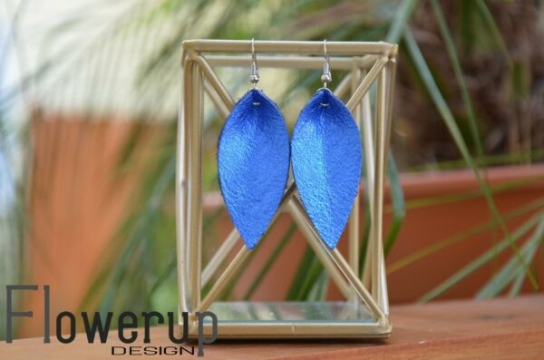 Handmade lightweight blue metallic pinched leaf real leather earrings