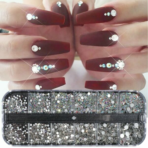 USA Round Crystal Rhinestone 3D Glitter Glass Diamond Gems DIY Nail Art Decor yu