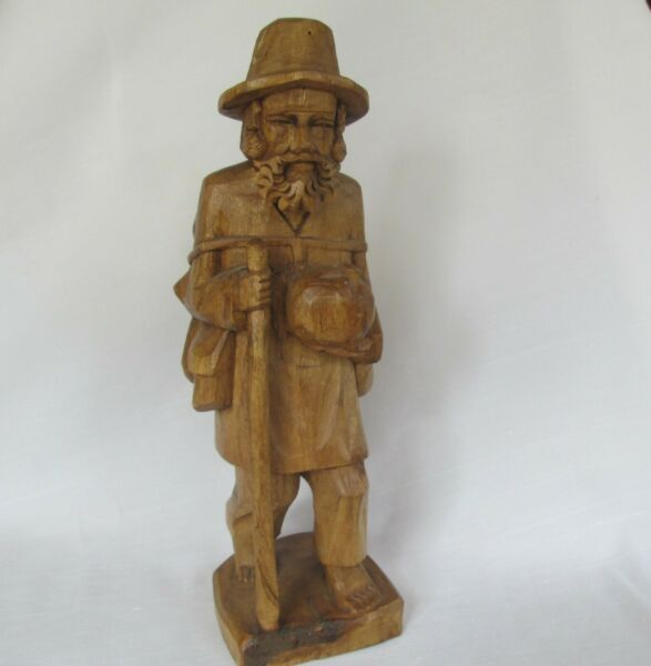 Vintage Carved Wood Hobo Man Figurine Traveling 12.5quot; Folk Art