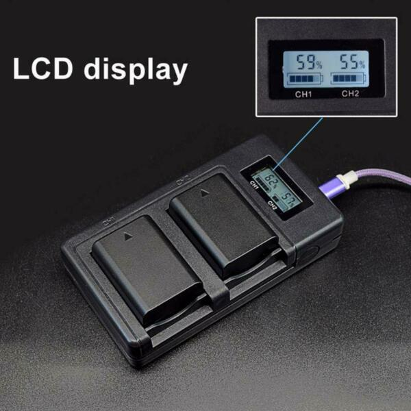 NP-FW50 Camera LCD Display Battery Charger Dual USB Charger for Sony A6500 A6000