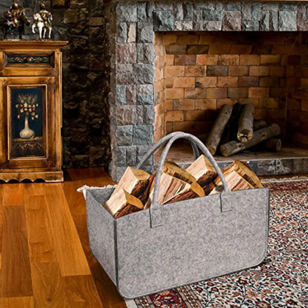 Heavy Duty Log Carrier Tote Bag Handle Firewood Storage Holder Fireplace US
