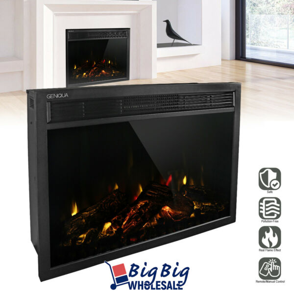 1400W 30quot; Electric Fireplace Heater Wall Insert Freestanding Adjustable Remote