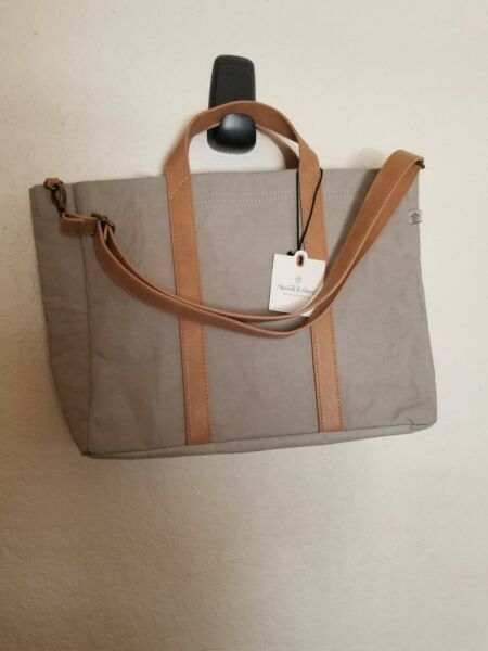 Hearth & Hand with Magnolia Joanna Gaines GreyTan Paper Canvas Tote Bag Purse