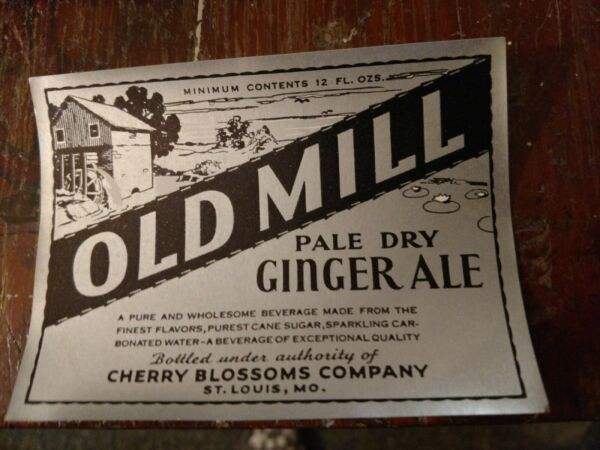 1930s OLD MILL GINGER ALE BOTTLE LABEL CHERRY BLOSSOM CO. ST. LOUIS MISSOURI