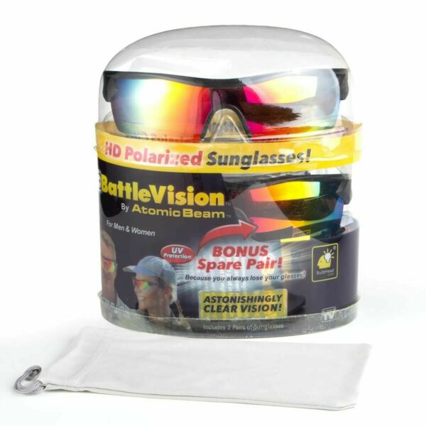 New 2 Pair Battlevision Hd Polarized Sunglasses Clear Vision As Seen On Tv Usa
