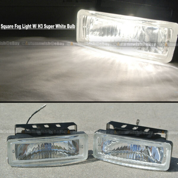For Cougar 5 x 1.75 Square Clear Driving Fog Light Lamp Kit W Switch