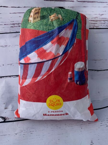 NEW NIP Sun Squad 2 Person Hammock with Two Heavy Duty Straps Red White Blue $29.99