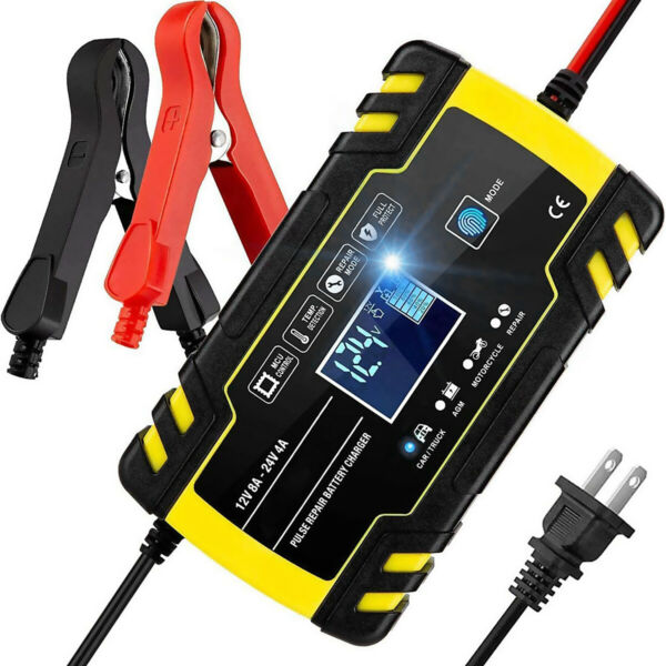 Smart Automatic Car Battery Charger 12 24V 8A Touch Screen Pulse Repair AGM GEL $25.99