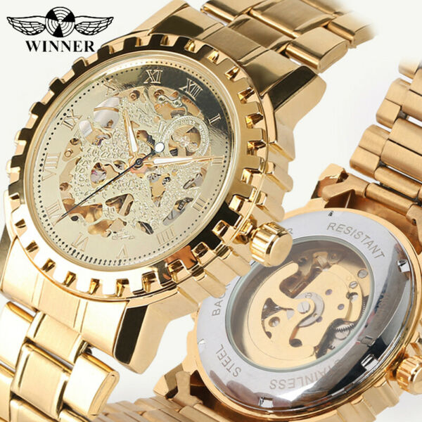 WINNER Men's Watch Automatic Mechanical Watches Golden Dial Durable Stainless