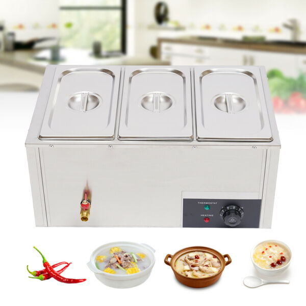 3-Pan Electric Food Warmer Steam Table Steamer 3 pot Buffet Countertop 850W 110V