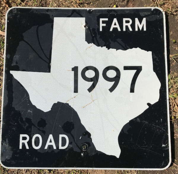 Old Authentic Retired TEXAS 1998 SIGN Highway Oil Gas 24X24 Lone Star Dallas