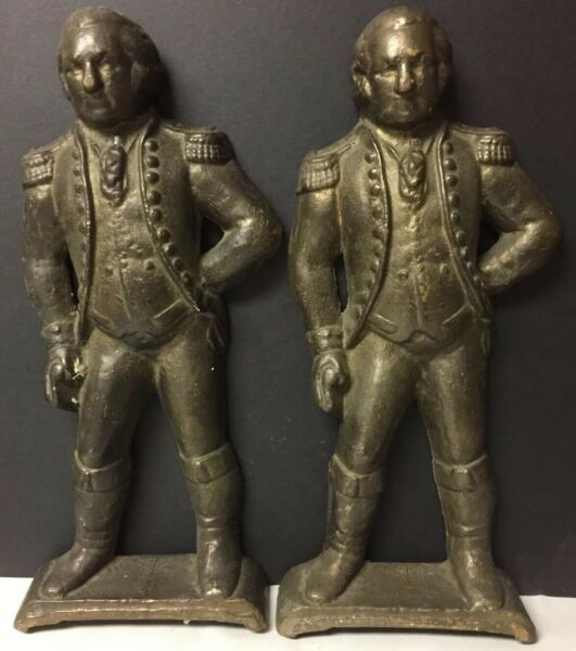 PAIR OF CAST BRASS or BRONZE FIGURAL ANDIRONS OF STANDING GEORGE WASHINGTON