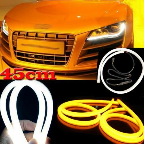 2pcs 45cm Illuminate WhiteAmber Switchback LED Strip Lights Headlight Side Glow