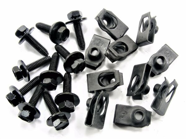 Mopar Body Bolts & U-nut Clips- M6-1.0 x 25mm Long- 10mm Hex- 20 pcs (10ea) #142