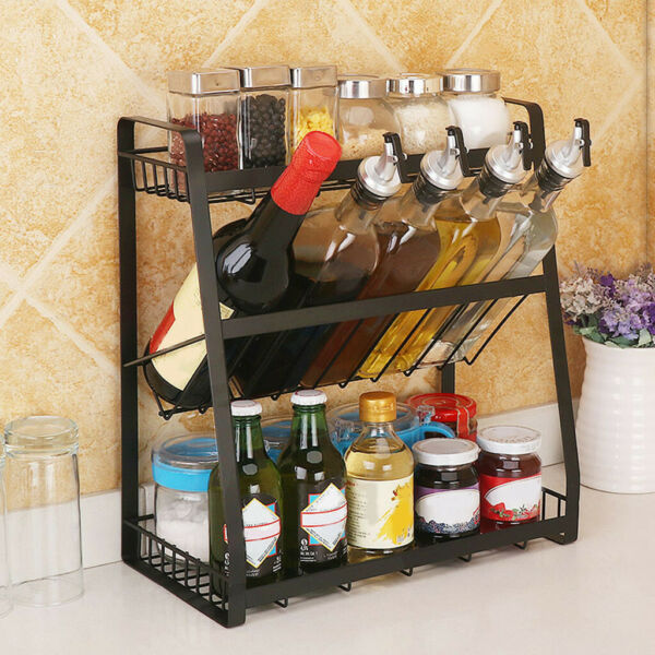 Multi-Functional Three-Storey Condiment Rack Kitchen Supplies Collection Shelf