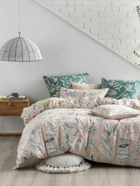 Linen House Claude Sage 100% Cotton Quilt Cover Set Queen King Euro AU $135.99