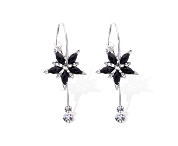 NEW XMAS FESTIVAL RHINESTONE BLACK STAR SILVER TONE DANGLE DROP UK SELLER