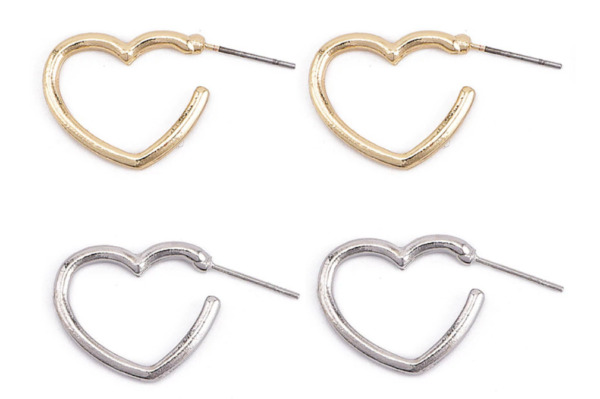 NEW XMAS SMALL LOVE HEART OPEN HOOP GOLD SILVER TONE EARRINGS UK SELLER