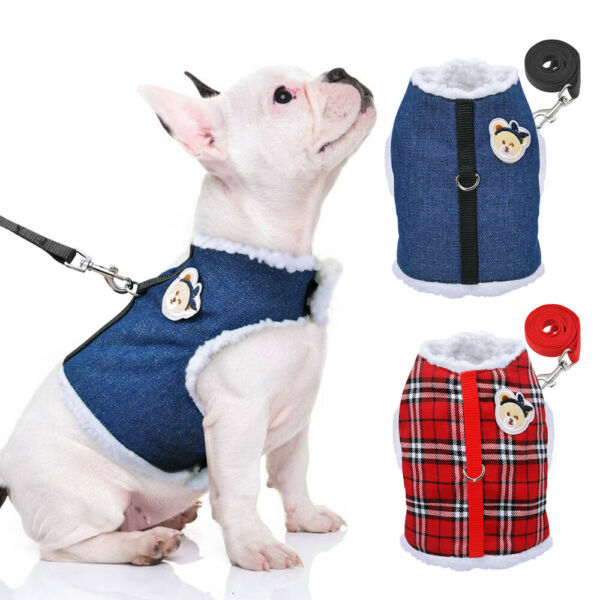 Warm Dog Harnesses and Leash for Small Dogs Winter Cats Plaid Vest Clothes XS XL $9.99