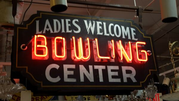 1920's Large Hanging Neon Ladies Welcome Bowling Center Sign