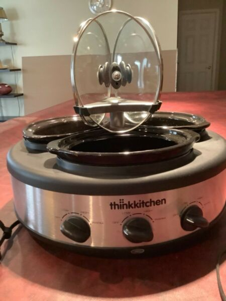 Intertek ThinkKitchen 3 Crock Slow Cooker Dishwasher Safe Stoneware Portable