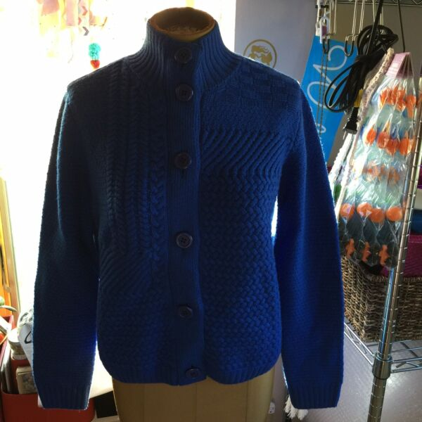 St John Cable Knit Blue Sweater Thick Wool Size Medium Cardigan