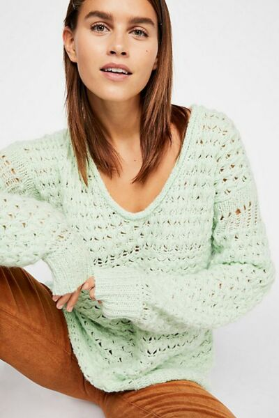 Free People Crashing Waves Pullover Open-Knit Sweater Sea Mint Size XS NWT