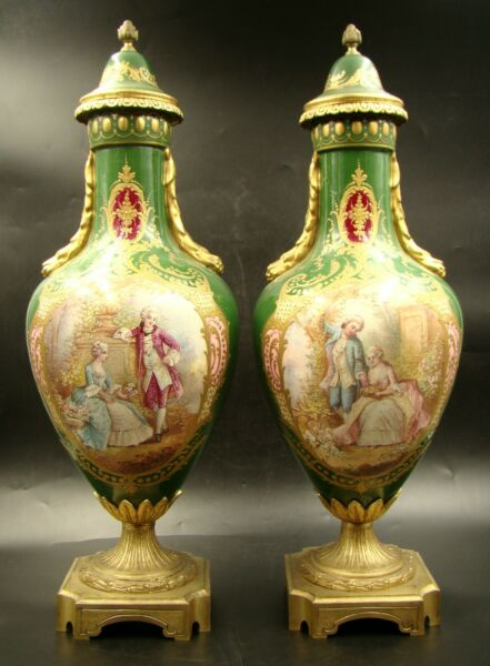 Pair of French Chateau Tuileries Sevres Porcelain Geen Covered Urn Vases ca 1846