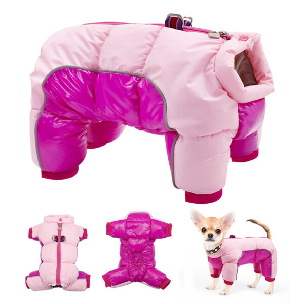 Pink Waterproof Small Girl Dog Jumpsuit Reflective Warm Winter Clothes Jacket $12.99