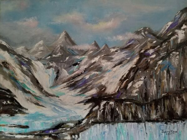 orginal oil painting landscape Alaska snow mountains clouds 9