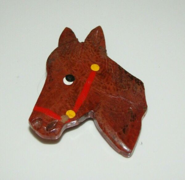 Vintage Carved Painted Wood Wooden Horse Head Brooch Pin 2
