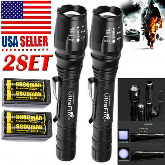 350000LM Tactical 5-Modes T6 Zoomable Focus 9900mAh 18650 LED Torch Flashlight