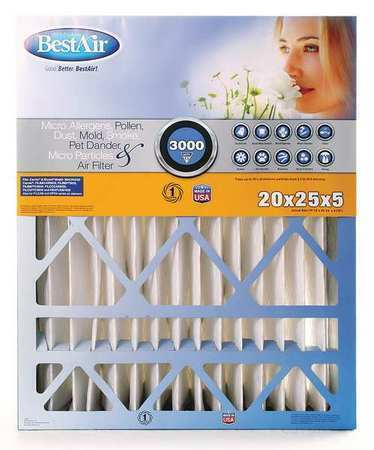 BESTAIR PRO AB-52025-13-2 20x25x5 Synthetic Furnace Air Cleaner Filter, MERV 13