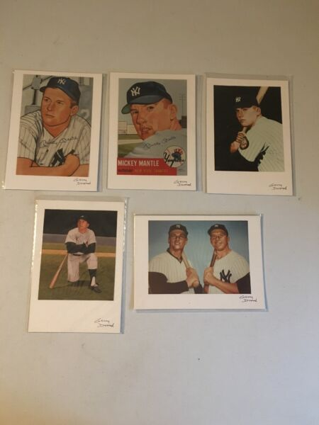 Mickey Mantle 5x7 Artwork Card Photo Prints Signed by Gerry Dvorak - Lot of 5