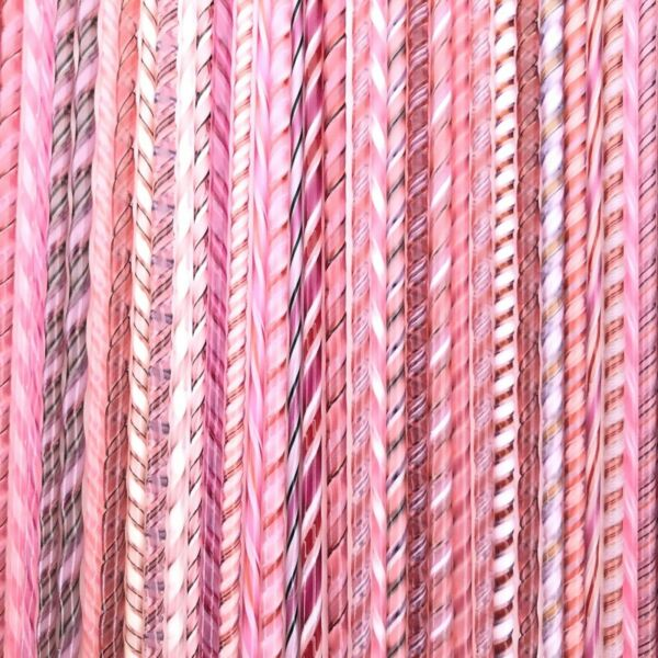 Coe 90 Glass Twistie Cane Pinks Bullseye Compatible Fusible Supply FIVE Canes