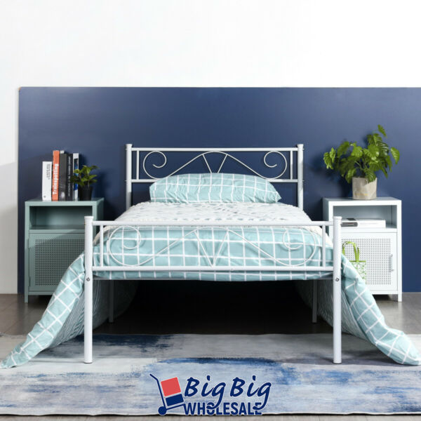 Twin Size Metal Bed Frame White Mattress Foundation with Headboard Footboard