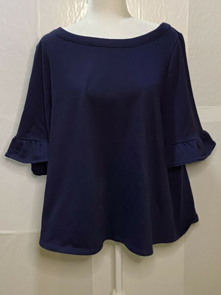 Modcloth Spiffed Up Sunday Terry Pullover Top With Back Bow In Navy Size 3X