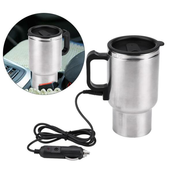 12V 450ml Electric Water Kettle Stainless Steel Travel Heating Cup Coffee Mug US