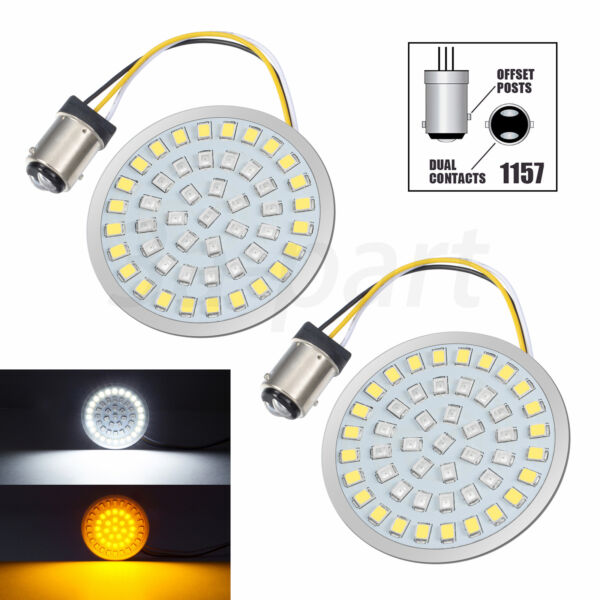 Pair 1157 LED Bullet Style Turn Signal Amber White Light Inserts Fit for Harley