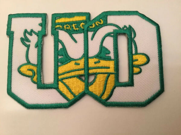 "The University Of Oregon DUCKS  Vintage Embroidered Iron On Patch 3.5"" X 2.25"""