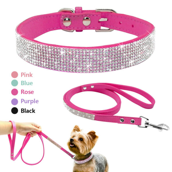 Bling Dog Rhinestone Collar and Leash Walking Cat Puppy Suede Necklace Chihuahua $11.99